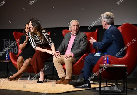 """Paula Newsome, D'Arcy Carden, Henry Winkler, Tom Bergeron. Paula Newsome, from left, D'Arcy Carden, Henry Winkler and Tom Bergeron take part in the lively Television Academy member event, """"Staying at the Table: A Conversation with Henry Winkler, """" at the Saban Media Center at the Television Academy on in North Hollywood, Calif"""