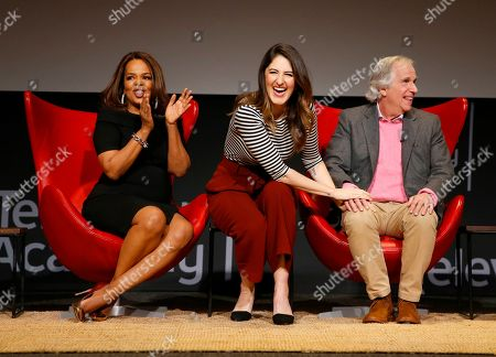 """Paula Newsome, D'Arcy Carden, Henry Winkler. Paula Newsome, from left, D'Arcy Carden and Henry Winkler take part in the lively Television Academy member event, """"Staying at the Table: A Conversation with Henry Winkler, """" at the Saban Media Center at the Television Academy on in North Hollywood, Calif"""