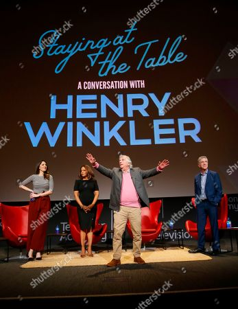 """Stock Picture of D'Arcy Carden, Paula Newsome, Henry Winkler, Tom Bergeron. D'Arcy Carden, from left, Paula Newsome, Henry Winkler and Tom Bergeron take part in the lively Television Academy member event, """"Staying at the Table: A Conversation with Henry Winkler, """" at the Saban Media Center at the Television Academy on in North Hollywood, Calif"""