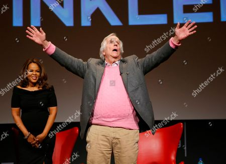 """Paula Newsome, Henry Winkler. Paula Newsome, from left, and Henry Winkler take part in the lively Television Academy member event, """"Staying at the Table: A Conversation with Henry Winkler, """" at the Saban Media Center at the Television Academy on in North Hollywood, Calif"""