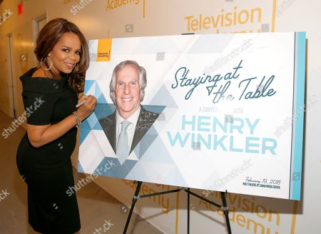 """Paula Newsome participates in the Television Academy member event """"Staying at the Table: A Conversation with Henry Winkler """" at the Saban Media Center at the Television Academy on in North Hollywood, Calif"""