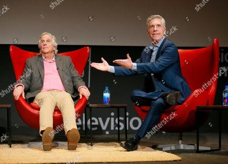 """Henry Winkler, Tom Bergeron. Henry Winkler, left, is interviewed by Tom Bergeron at the Television Academy's lively member event, """"Staying at the Table: A Conversation with Henry Winkler, """" at the Saban Media Center at the Television Academy on in North Hollywood, Calif"""