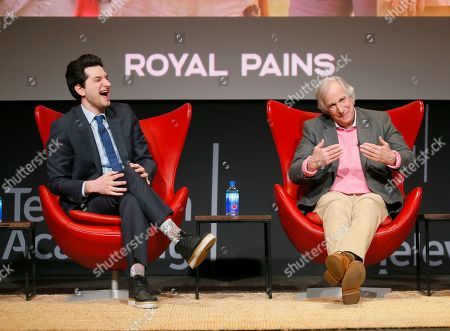 "Ben Schwartz, Henry Winkler. Ben Schwartz, left, and Henry Winkler share stories during the lively Television Academy member event, ""Staying at the Table: A Conversation with Henry Winkler, "" at the Saban Media Center at the Television Academy on in North Hollywood, Calif"