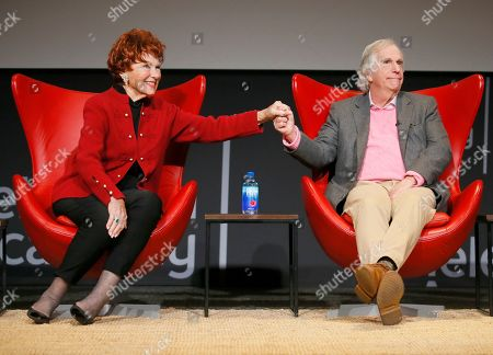 """Marion Ross, Henry Winkler. Marion Ross, left, and Henry Winkler reunite at the lively Television Academy member event, """"Staying at the Table: A Conversation with Henry Winkler, """" at the Saban Media Center at the Television Academy on in North Hollywood, Calif"""