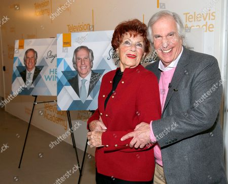 """Marion Ross, Henry Winkler. Marion Ross, left, and Henry Winkler reunite for the Television Academy member event """"Staying at the Table: A Conversation with Henry Winkler """" at the Saban Media Center at the Television Academy on in North Hollywood, Calif"""