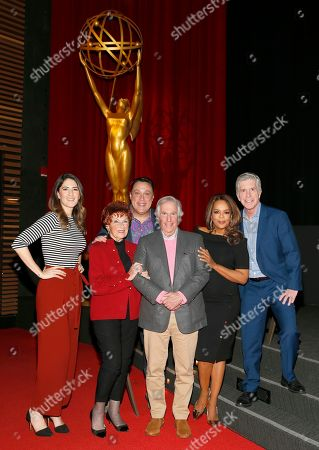 """D'Arcy Carden, Marion Ross, Michael Levitt, Henry Winkler, Paula Newsome, Tom Bergeron. D'Arcy Carden, from left, Marion Ross, Michael Levitt, Henry Winkler, Paula Newsome and Tom Bergeron come together for the Television Academy member event """"Staying at the Table: A Conversation with Henry Winkler """" at the Saban Media Center at the Television Academy on in North Hollywood, Calif"""