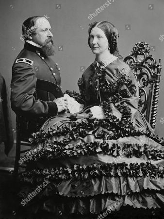 Union Civil War General James Ricketts with his wife Fannie, after he returned to duty in 1862. Col. Ricketts was shot four times and captured at the First Battle of Bull Run, July 1861. As a prisoner of war in Richmond, his wife Fannie was allowed to stay with him as his nurse. He was exchanged and paroled, and back in the war by the summer of 1862