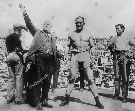 Jim Jeffries is introduced by John L. Sullivan before his fight with the champion, Jack Johnson. Jeffries was called the great white hope who would regain the White honor by winning the heavyweight championship from African American, Jack Johnson. The match took place in Reno, Nevada, July 4, 1910, when Johnson retained the title by a technical knockout in the 15th round