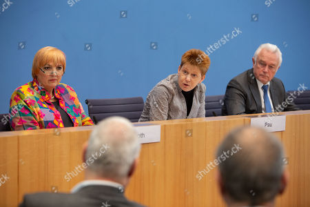 Three vice-presidents of the opposition factions in the German parliament the Bundestag (R-L) Wolfgang Kubicki of the Free Democratic Party (FDP), Claudia Roth of the German Green party, Petra Pau of the Left Party (Die Linke) attend a press conference addressing the issue of Pension equality for Jewish immigrants of the former Soviet Union at the Federal Press Conference building in Berlin, Germany, 20 February 2019. The initiative's intention is to match the retirement conditions of Jewish quota refugees of the former Soviet Union to those of 'German' (or non Jewish) decent. Currently, employment time in the USSR is not being recognized for quota refugees, which leads to smaller pensions.