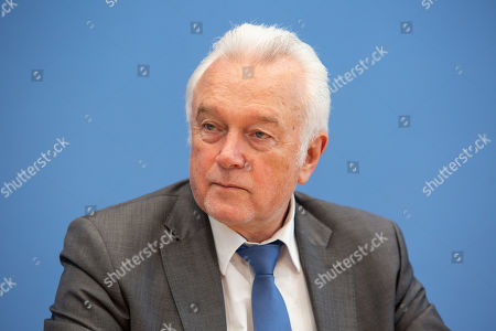 Vice-president of the German parliament the Bundestag Wolfgang Kubicki of the Free Democratic Party (FDP), attend a press conference addressing the issue of Pension equality for Jewish immigrants of the former Soviet Union at the Federal Press Conference building in Berlin, Germany, 20 February 2019. The initiative's intention is to match the retirement conditions of Jewish quota refugees of the former Soviet Union to those of 'German' (or non Jewish) decent. Currently, employment time in the USSR is not being recognized for quota refugees, which leads to smaller pensions.