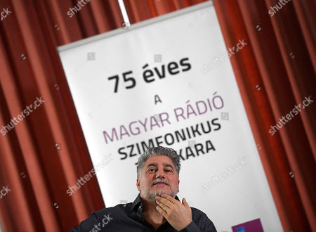 Argentine opera singer and conductor Jose Cura looks on during a press conference introducing him as first permanent guest artist of the Hungarian Radio Art Groups at the Marble Hall of the Hungarian Radio in Budapest, Hungary, 20 February 2019. The inscription reads: 'the Symphonic Orchestra of the Hungarian Radio is 75 years old'.
