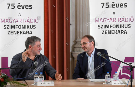 Argentine opera singer and conductor Jose Cura (L) speaks next to Chief Executive of the Hungarian Radio Art Groups Geza Kovacs as he is introduced as first permanent guest artist of the art groups in the next three seasons at the Marble Hall of the Hungarian Radio in Budapest, Hungary, 20 February 2019. The inscriptions read: 'the Symphonic Orchestra of the Hungarian Radio is 75 years old'.