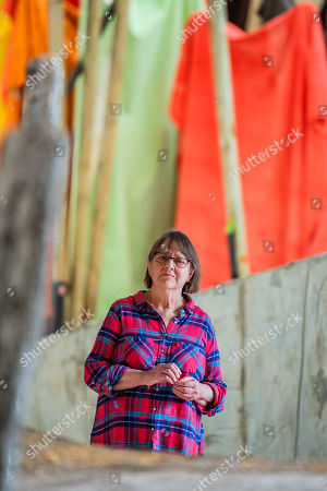 British sculptor Phyllida Barlow with her artworks