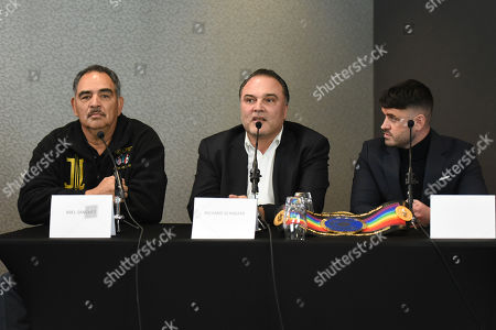 Richard Schaefer (L), Abel Sanchez and Sam Jones during a Press Conference at Intercontinental at The O2 on 20th February 2019