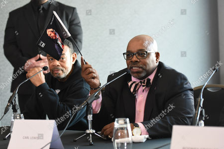 Stock Photo of Carl Lewis during a Press Conference at Intercontinental at The O2 on 20th February 2019