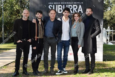Stock Photo of Filippo Nigro, Giacomo Ferrara, Francesco Acquaroli, Eduardo Valdarnini, Claudia Gerini, Alessandro Borghi