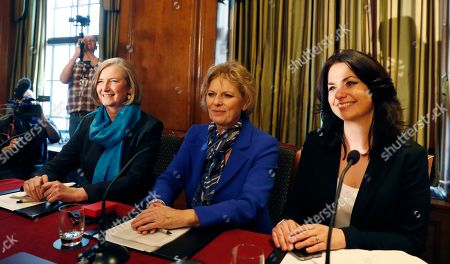 British lawmakers Joan Ryan, left, Anna Soubry, centre, and Heidi Allen, right, arrive for a press conference in Westminster in London,. Cracks in Britain's political party system yawned wider Wednesday, as three pro-European lawmakers - Soubry, Allen and Wollaston - quit the governing Conservatives to join a newly formed centrist group of independents who are opposed to the government's plan for Britain's departure from the European Union.in London, Wednesday, Feb. 20, 2019