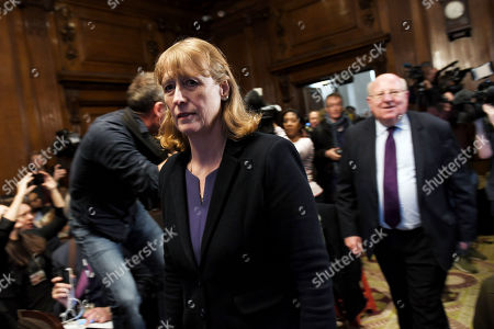 Joan Ryan arrives at a press conference after leaving the Labour Party to join the new Independent Group
