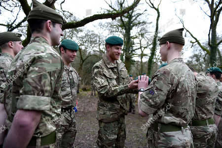 Stock Photo of Prince Harry, Captain General Royal Marines, visits 42 Commando Royal Marines at their base in Bickleigh to carry out a Green Beret presentation at Dartmoor National Park