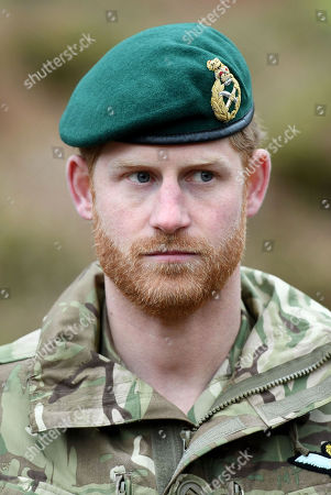 Stock Image of Prince Harry, Captain General Royal Marines, visits 42 Commando Royal Marines at their base in Bickleigh to carry out a Green Beret presentation at Dartmoor National Park
