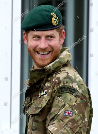 Prince Harry, Captain General Royal Marines visits 42 Commando Royal Marines at their base in Bickleigh to carry out a Green Beret presentation at Dartmoor National Park