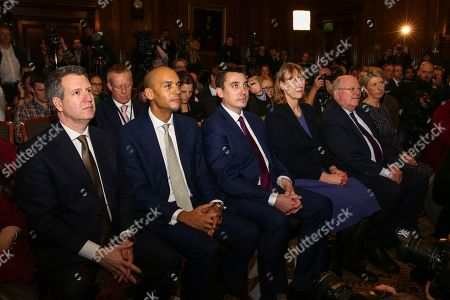 Stock Picture of Independent Group members Luciana Berger, Ann Coffey, Mike Gapes, Chris Leslie, Gavin Shuker, Angela Smith, Chuka Umunna and Joan Ryan attend the press conference,
