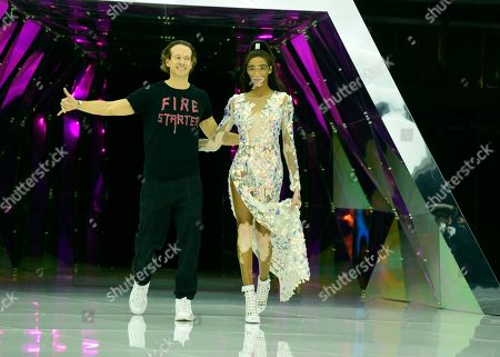 Manuel Facchini and Winnie Harlow on the catwalk