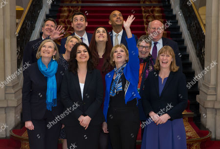 The Independent Group, (back row left to right) Chris Leslie, Gavin Shuker, Chuka Umunna and Mike Gapes, (middle row, left to right) Angela Smith, Luciana Berger and Ann Coffey, (front row, left to right) Sarah Wollaston, Heidi Allen, Anna Soubry and Joan Ryan on the grand staircase of One Great George Street in Westminster following today's press conference.