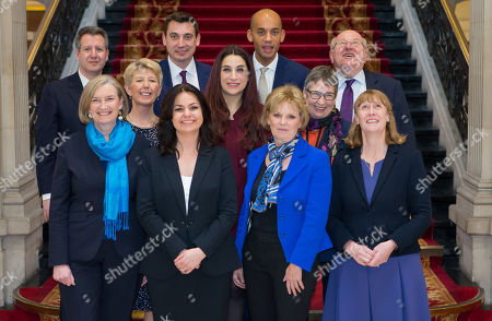 Stock Photo of The Independent Group, (back row left to right) Chris Leslie, Gavin Shuker, Chuka Umunna and Mike Gapes, (middle row, left to right) Angela Smith, Luciana Berger and Ann Coffey, (front row, left to right) Sarah Wollaston, Heidi Allen, Anna Soubry and Joan Ryan on the grand staircase of One Great George Street in Westminster following today's press conference.