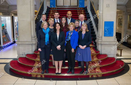 Stock Image of The Independent Group, (back row left to right) Chris Leslie, Gavin Shuker, Chuka Umunna and Mike Gapes, (middle row, left to right) Angela Smith, Luciana Berger and Ann Coffey, (front row, left to right) Sarah Wollaston, Heidi Allen, Anna Soubry and Joan Ryan on the grand staircase of One Great George Street in Westminster following today's press conference.