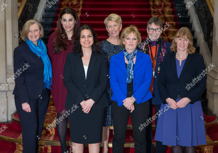 The female members of the Independent Group, (left to right) Sarah Wollaston, Luciana Berger, Heidi Allen, Angela Smith, Anna Soubry, Ann Coffey and Joan Ryan on the grand staircase of One Great George Street in Westminster following today's press conference.