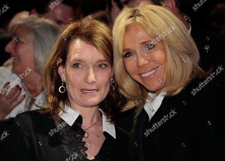 French President's wife Brigitte Trogneux (R) poses with Israel ambassador to France Aliza Bin-Noun during the 34th annual dinner of the Representative Council of Jewish Institutions of France (CRIF - Conseil Representatif des Institutions juives de France) in Paris, France, 20 February 2019.