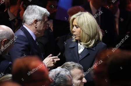 CEO of LVMH Fashion Group Sydney Toledano speaks with Brigitte Trogneux at the 34th CRIF Representative Council of jewish institutions of France (conseil representatif des institutions juives de France) in Paris, France, 20 February 2019.