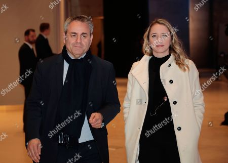 Hauts-de-France region chairman Xavier Bertrand (L) and his wife Emmanuelle Gontier (R) arrive at the 34th annual dinner of the Representative Council of Jewish Institutions of France (CRIF - Conseil Representatif des Institutions juives de France) in Paris, France, 20 February 2019.