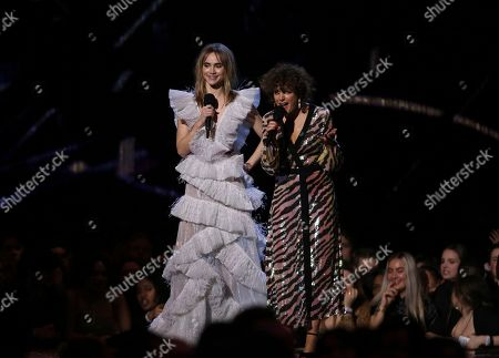 Suki Waterhouse and Annie Mac onstage at the Brit Awards in London
