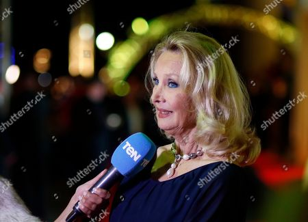 Barbara Bouchet, a German-American actress, speaks during an interview as she attends the third edition of Aswan International Women Film Festival (AIWFF), in Aswan, Egypt, late