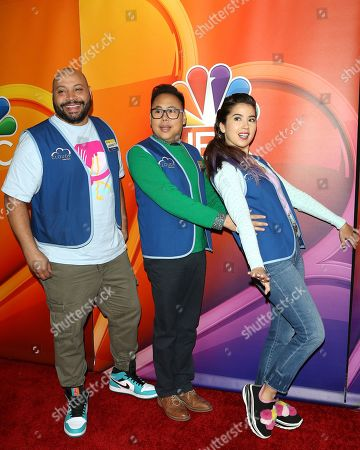 Colton Dunn, Nico Santos, Nichole Bloom arrive for the NBC Universal Mid Season Press Day at Universal City, California, USA 20 February 2019.