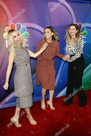 Becca Tobin, Canadian tv presenter Keltie Knight, and fashion designer Jac Vanek arrive for the NBC Universal Mid Season Press Day at Universal City, California, USA 20 February 2019.