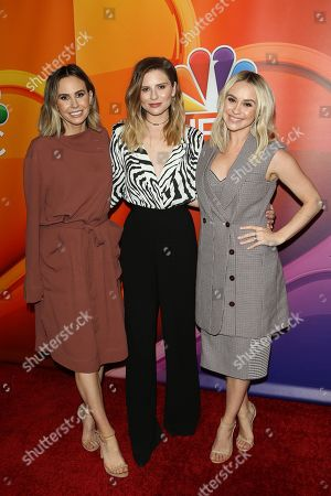 Canadian tv presenter Keltie Knight, US fashion designer Jac Vanek and US actress Becca Tobin arrive for the NBC Universal Mid Season Press Day at Universal City, California, USA 20 February 2019.