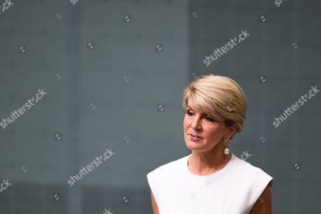 Former Australian Foreign Minister Julie Bishop makes statement to the House of Representatives at Parliament House in Canberra, Australia, 21 February 2019. According to media reports, Bishop announced her resignation from Parliament.