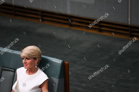 Former Australian Foreign Minister Julie Bishop reacts prior to making a statement to the House of Representatives at Parliament House in Canberra, Australia, 21 February 2019. According to media reports, Bishop announced her resignation from Parliament.