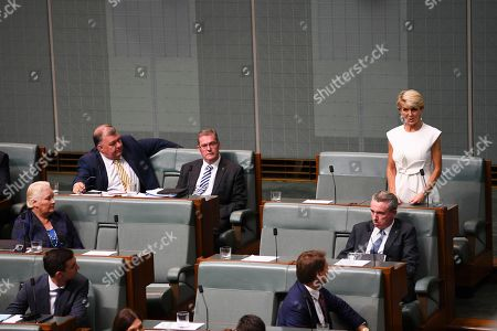 Former Australian Foreign Minister Julie Bishop (R) makes a statement to the House of Representatives at Parliament House in Canberra, Australia, 21 February 2019. According to media reports, Bishop announced her resignation from Parliament.