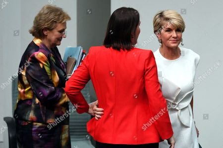 Member for Curtin Julie Bishop is embraced by Minister for Jobs after Ms Bishop announced to the chamber after she will not be contesting the seat of Curtin in the upcoming 2019 Federal Election in the House of Representatives at Parliament House in Canberra, Australia, 21 February 2019. According to media reports, Bishop announced her resignation from Parliament.