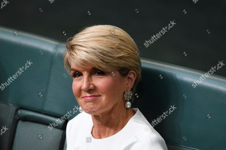 Former Australian Foreign Minister Julie Bishop reacts during House of Representatives Question Time at Parliament House in Canberra, Australia, 21 February 2019. According to media reports, Bishop announced her resignation from Parliament.