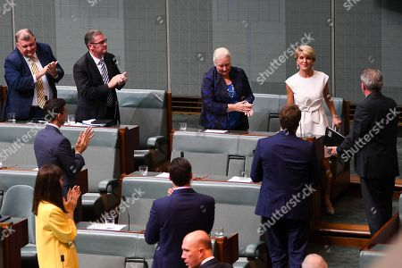 Former Australian Foreign Minister Julie Bishop (C-R, top) is congratulated after making a statement to the House of Representatives at Parliament House in Canberra, Australia, 21 February 2019. According to media reports, Bishop announced her resignation from Parliament.