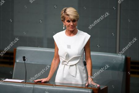 Former Australian Foreign Minister Julie Bishop makes a statement to the House of Representatives at Parliament House in Canberra, Australia, 21 February 2019. According to media reports, Bishop announced her resignation from Parliament.