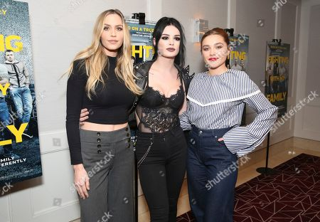 "Aqueela Zoll, Paige Bevis, Florence Pugh. Aqueela Zoll, Paige Bevis and Florence Pugh seen at the Metro Goldwyn Mayer Pictures' ""Fighting with My Family"" Los Angeles Tastemaker Screening at The London Hotel, in West Hollywood, Calif"