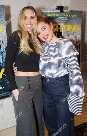 "Aqueela Zoll, Florence Pugh. Aqueela Zoll and Florence Pugh seen at the Metro Goldwyn Mayer Pictures' ""Fighting with My Family"" Los Angeles Tastemaker Screening at The London Hotel, in West Hollywood, Calif"