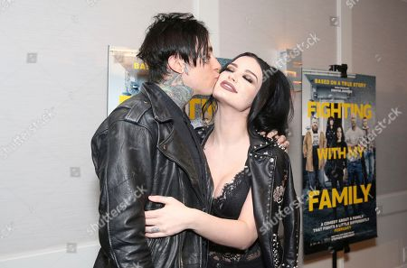 "Stock Image of Ronnie Radke, Paige Bevis. Ronnie Radke and Paige Bevis seen at the Metro Goldwyn Mayer Pictures' ""Fighting with My Family"" Los Angeles Tastemaker Screening at The London Hotel, in West Hollywood, Calif"