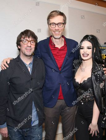 """Graham Coxon, Stephen Merchant, Paige Bevis. Graham Coxon, writer/director Stephen Merchant and Paige Bevis seen at the Metro Goldwyn Mayer Pictures' """"Fighting with My Family"""" Los Angeles Tastemaker Screening at The London Hotel, in West Hollywood, Calif"""